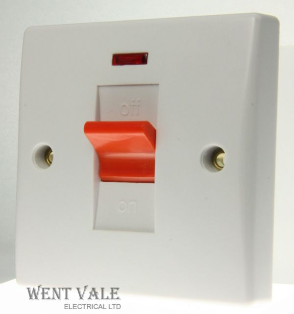 GET Exclusive Moulded - GU4011 - White 45a Double Pole Switch & Neon New